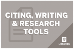 "Words over a graphic. They read ""Citing, Writing & Research Tools"""