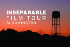 A graphic designed with the silhouette of a water tower. Words say; INseparable Film Tour Bloomingont