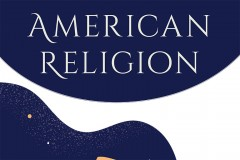 A cropped image of the top of a publication cover. The words American Religion are boldly printed on a blue background.