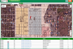 Example utilization of Fire Insurance Maps Online, showing a Sanborn insurance map georeferenced onto a Google Maps display of downtown Bloomington, Indiana.