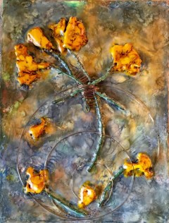 encaustic work in oranges and blues by Linda Helmick