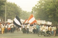 A color image from a video recording of a 1987 street protest in Nicaragua.