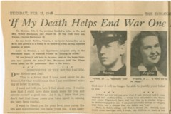 A WWII era newspaper clipping from the IU Archives