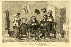 A scanned image is an 18th century satirical illustration showing cheating card players