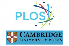 Two logos are in one image. One is the PLOS Journal logo and one is for Cambridge University Press