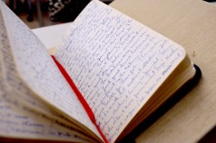 Open diary with handwritten entries