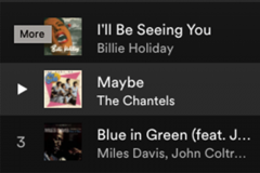 A screenshot of a Spotify Playlist featuring Billie Holiday and The Chantels