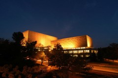 Herman B Wells Library exterior at night