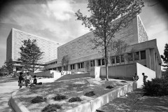 A black and white image of the exterior of Herman B Wells Library in 1969