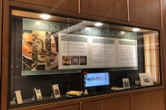 UNESCO World Book and Copyright Day exhibit in display case