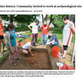 Image of The Herald Times story with photo of current dig.