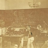 image of 1876 science classroom at Indiana University