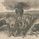 "View of a locomotive labeled ""Star of Empire."""
