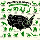 Map showing monsters and their locations in America