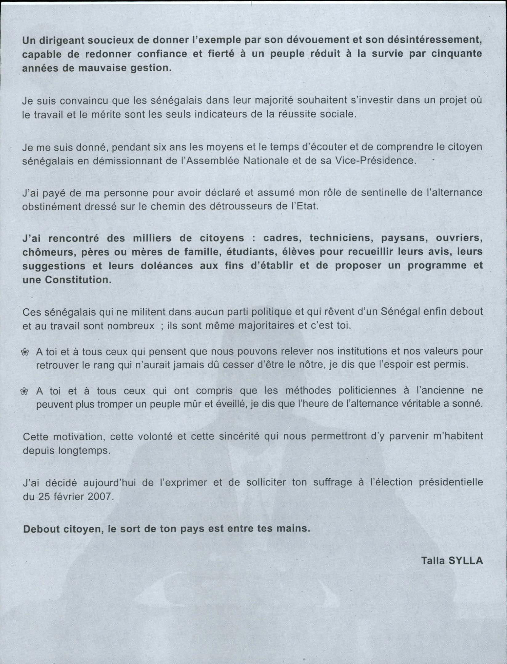 Talla Sylla 2007 Presidential Election campaign pamphlet side 2