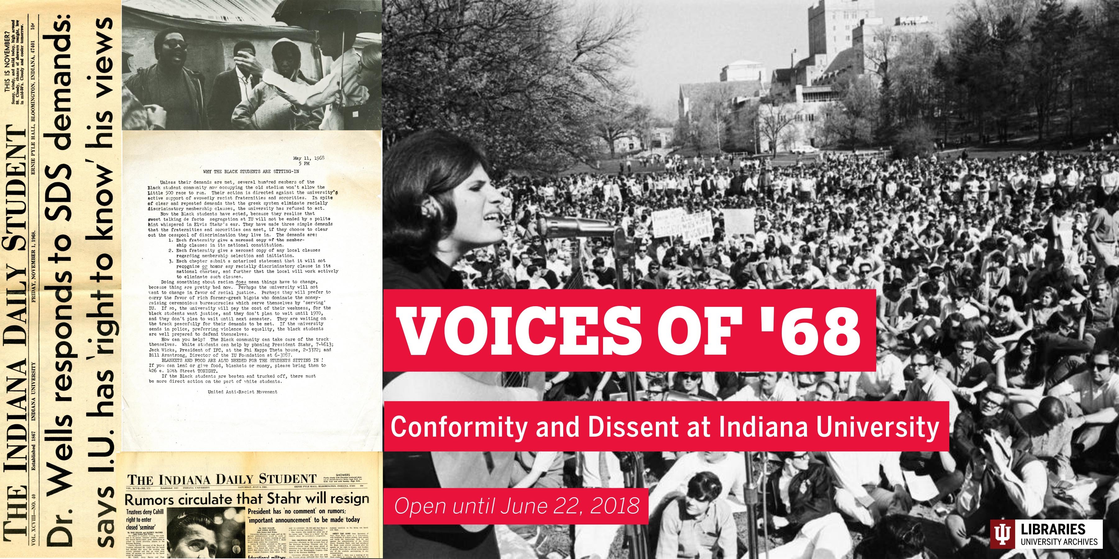Poster for IU Archives exhibit featuring photograph and documents from exhibit