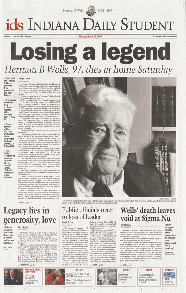 The March 20, 2000 edition of The Indiana Daily Student with headline on death of Herman B Wells.